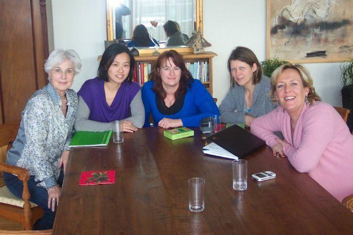 V.l.n.r. Marijke, Chungmei, Jeanette, Marianne en Barbara.